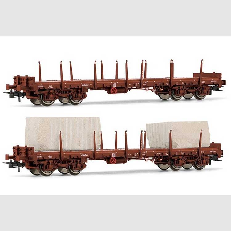 H0 1:87 RIVAROSSI HR6425 Set carri merce a pianale FS modello Rgmms con cari